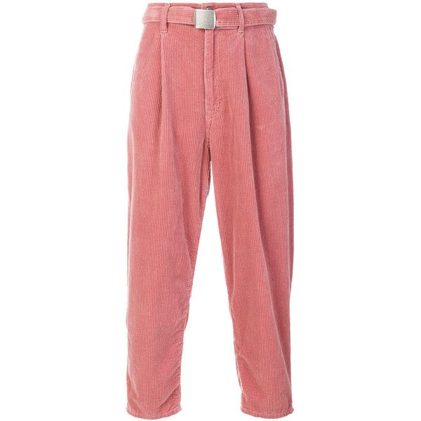 Doublet wide leg corduroy trousers ($323) ❤ liked on Polyvore featuring men's fashion, men's clothing, men's pants, men's casual pants, mens corduroy pants, mens pink pants and mens wide leg pants