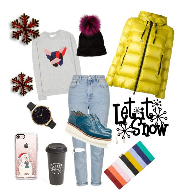 """Winter Day #234"" by jennykenny-1 on Polyvore featuring Milly, Être Cécile, Olivia Burton, Jennifer Meyer Jewelry, Moncler, Topshop, Grenson, Neiman Marcus, Casetify and The Created Co."