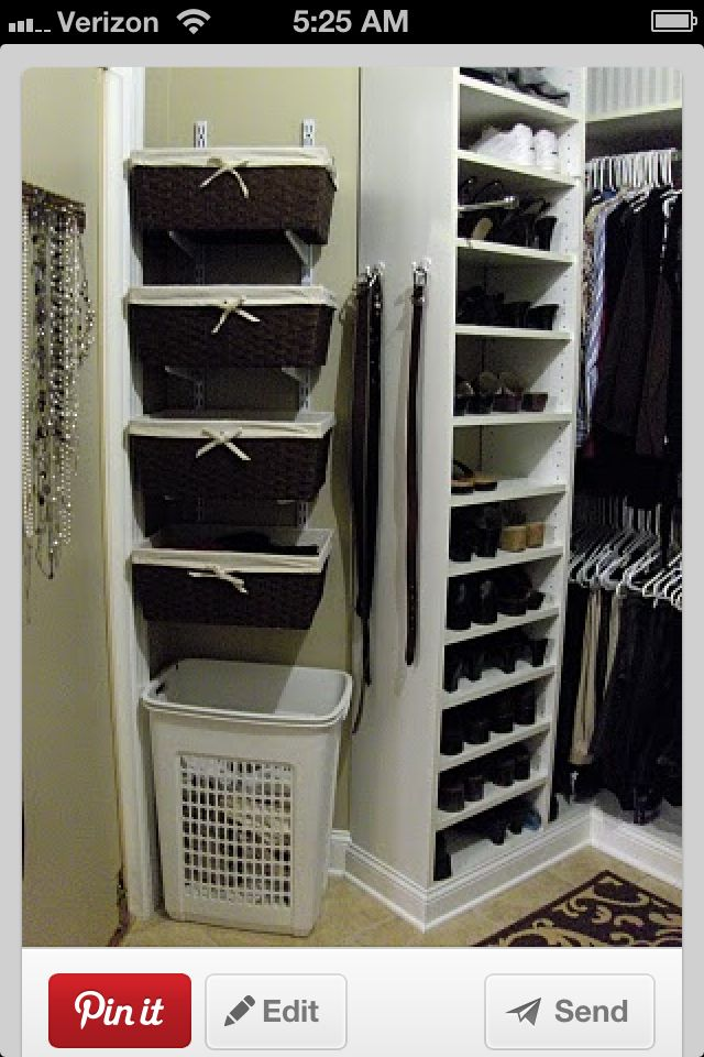Closet storage and baskets for scarves and flip flops