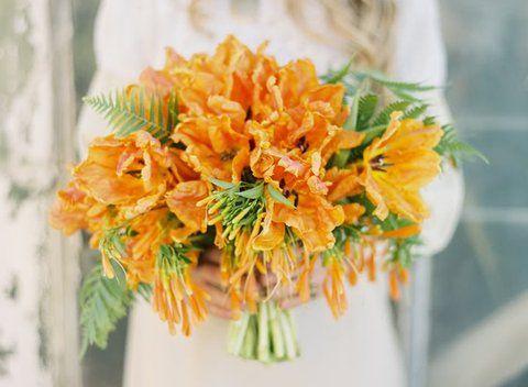 Lush Bridal Bouquet Of: Orange Parrot Tulip & Green Ferns  --------  (Kathryn Grady uploaded this image to 'Real Weddings/Jose Villa'.  See the album on Photobucket)