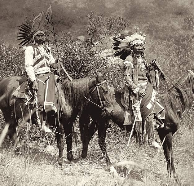 The Ute Pass Trail originated just below the springs of Manitou, Colorado, through Ute Pass and into the White River country of Utah. Starting in 1860, the mineral rushes to Colorado resulted in large settler migrations that began the first major threat to the Ute way of life. These Ute men pose on horseback as part of the marking ceremony for the Ute Pass Trail on August 29,1912.
