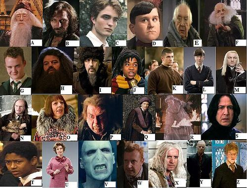 all harry potter characters labeled   Can you name the Harry Potter characters (A-Z)?