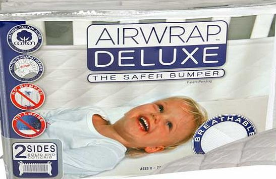 Airwrap Deluxe 2 Sided Airwrap Deluxe 2 Sided Bumper combines the impressive benefits of airwrap mesh with that of a traditional cot bumper! Padded breathable mesh fabric. Covers full length of cot. ideal for solid ended co http://www.comparestoreprices.co.uk/baby-cots-and-cot-beds/airwrap-deluxe-2-sided.asp