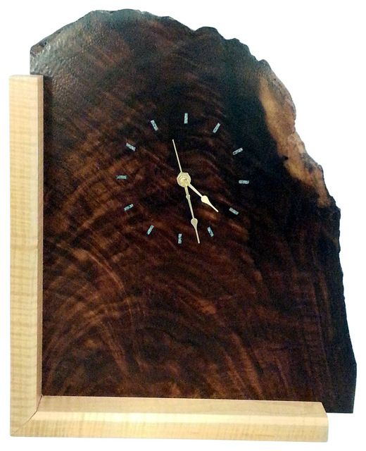 Natural Edge Figured Walnut Wood Mantel Clock with Turquoise Inlay rustic-desk-and-mantel-clocks