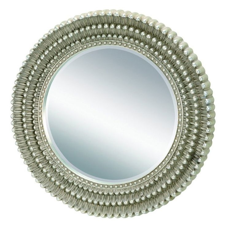 Exceptional 34 Inch Round Mirror Part - 2: Round Wall Mirror With A Petal-inspired Frame And Metallic Finish. Product:  Wall Mirror Construction Material: Resin And Mirrored Glass Color: Metallic  ...