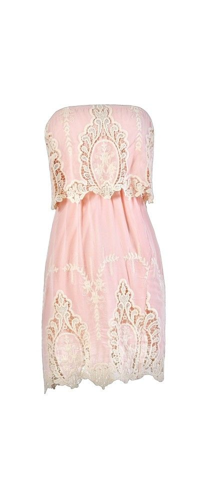 Delicate and Dreamy Crochet Embroidered Dress in Pale Pink  www.lilyboutique.com