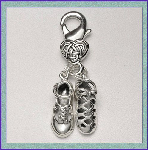 Irish Dance Shoes Clip-On Charms with Celtic Knot Heart Clasp