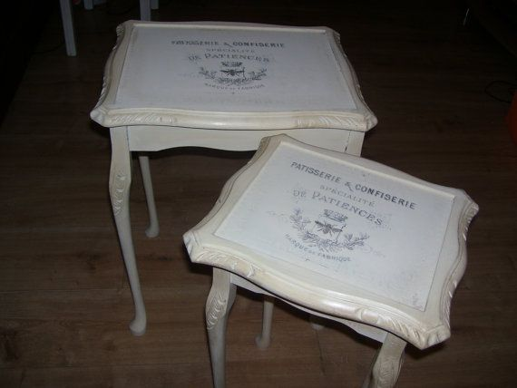 Cream shabby chic/vintage nesting tables by LittleTreatsGiftShop