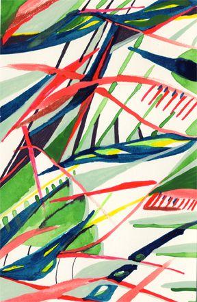 Motif de Feuilles tropicales rouges roses et bleu foncé sur fond blanc par Kristin Reger /