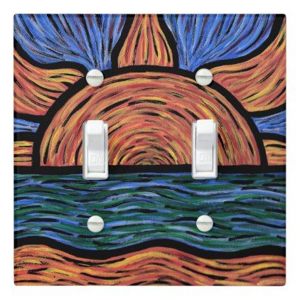 Vibrant Sunrise Painting Colors In Motion Light Switch Cover - blue gifts style giftidea diy cyo
