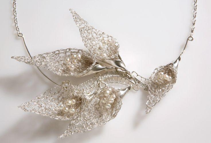 Silver crochet Calla flower  Inbar Shahak