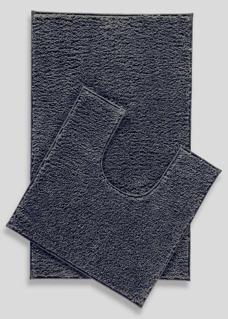 2 Pack Easy Dry Bath Mat and Pedestal Mat Set View 1