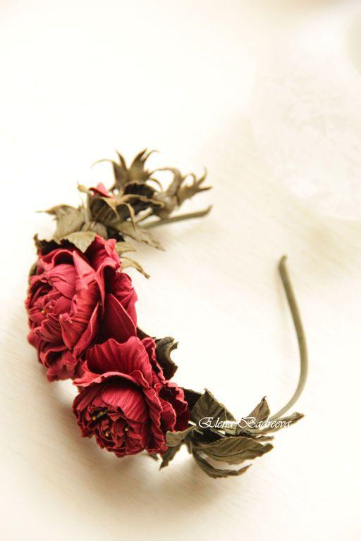 """Ободок из кожи """"Торжество рассвета"""" - разноцветный,бордовый,бордовые розы"""