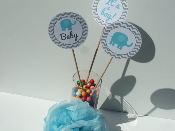 Elephant baby shower decorations party package blue gray chevron be52 printable elephant baby - Baby shower chevron decorations ...