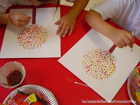 Enfants peinture coton-tiges
