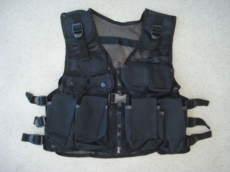 toygunzone kids swat police tactical combat vest black 9 pockets adjustable 3699 http swat policebulletproof vesthalloween - Halloween Bullet Proof Vest