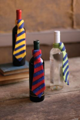 Father's Day from me - a new tie around a wine bottle
