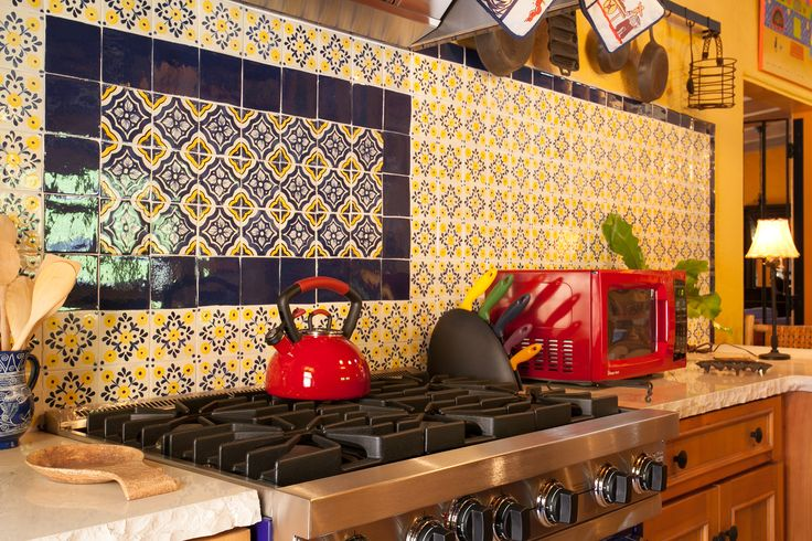 Detail glazed mexican tile backsplash in hacienda style for Spanish hacienda style kitchens