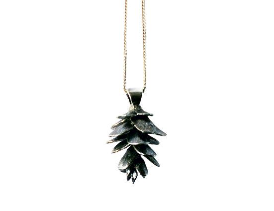 Pinecone Necklace Silver by JustineBrooks