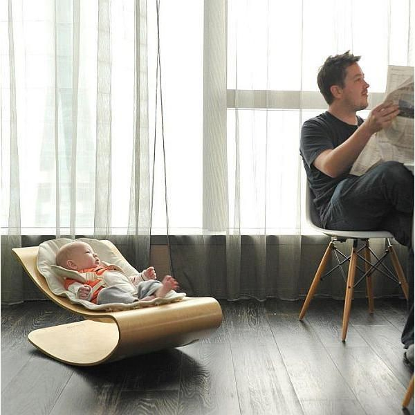This baby rocking chair is elegantly designed. The Bloom Coco Stylewood Baby Bouncer feature beautiful materials, soft curvy form and space saving design, perfect for small apartments and homes. The b