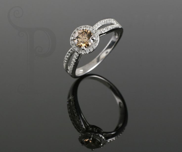 18ct White Gold Spilt Shank Halo Ring, Set With a Round Brilliant Cut Cognac Diamond and Small Round White Diamonds