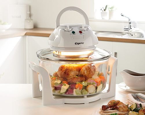 This super efficient Halogen Oven from Elgento cooks 40 percent faster than conventional ovens with up to 60 percent energy saving 1400W power.  Grills, bakes, boils and roasts. 12L capacity. Mains operated. Energy efficient. No pre-heating required. Drains fat for healthier cooking. Size H35 x W33 x D20cm.
