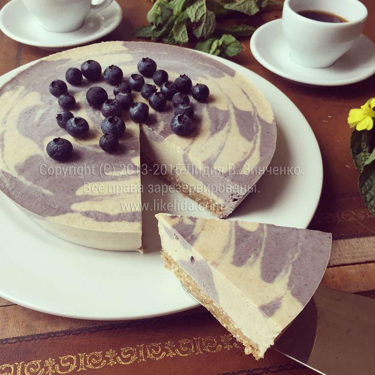 Овсяный пирог с черникой (без муки, сахара, масла, без выпечки, веганский)
