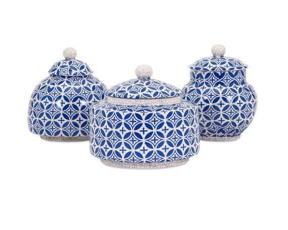 SHOP HOME DECOR NOW! Mediterranean Decorating Ideas Blue and White Geometric Jar Lidded Boxes - Set of 5 | Free Shipping by Heathertique