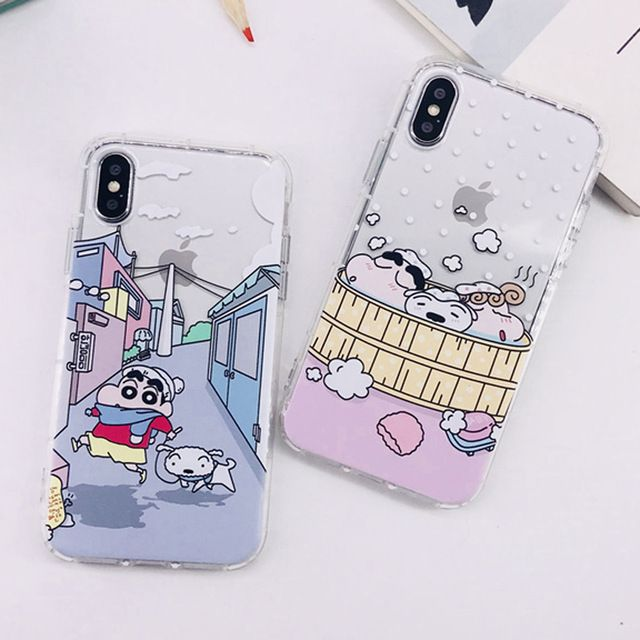 Cartoon Anime Crayon Shin Chan Airbag Cover Case For Coque Iphone 6 6s 6plus 7 7plus 8 8plus X Cases Capinha Tpu Silicone Funda Capinhas Iphone Iphone 6 Iphone