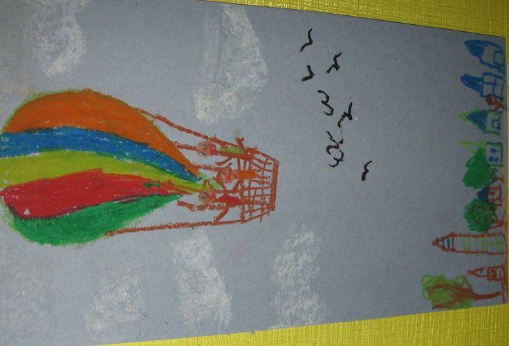 Воздушный шар №3. пастель+картон.