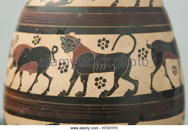 Lioness depicted on the Corinthian black-figure oil jug from 650-625 BC on display in the Staatliche Antikensammlungen (Bavarian State Collection of Antiques) in Munich, Bavaria, Germany. - Stock Image
