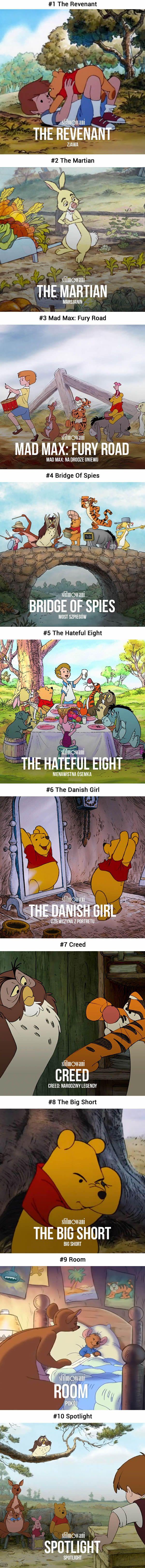 10 Oscar-Nominated Movies Recreated With Winnie The Pooh (By Dawid Adamek) - 9GAG