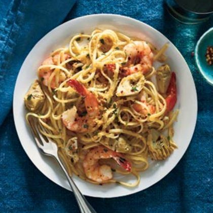 Linguine With Shrimp, Artichokes, and Crispy Bread Crumbs Recipe from ...