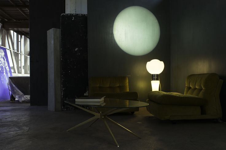 Mario Bellini AMANTA chairs, MAZZEGA Murano light-bulb floorlamp at Lost And Found Studio - Rome