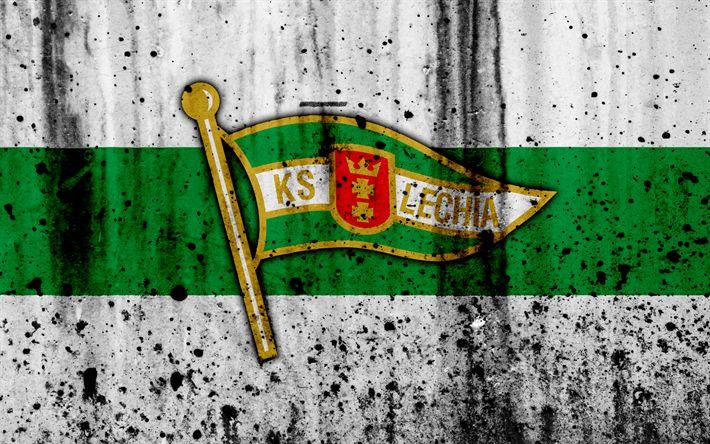 Download wallpapers FC Lechia Gdansk, 4k, grunge, Ekstraklasa, logo, football club, Poland, Lechia Gdansk, soccer, art, stone texture, Lechia Gdansk FC
