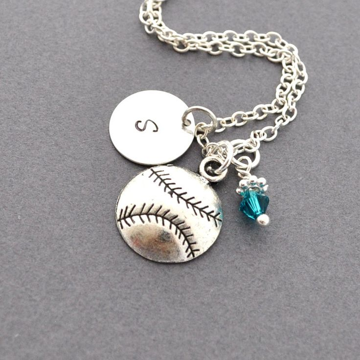 Softball / Baseball Necklace, Birthstone Initial Necklace, Monogram, Softball charm, Baseball charm, Sports Jewelry, personalized jewelry. $19.50, via Etsy.