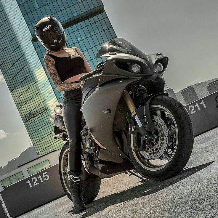 Biker girl on Yamaha R1