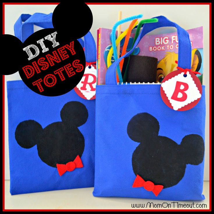 Use the cheap $1 bags from target. Cute! {DIY} Disney Tote Bags! {Craft} – Mom O
