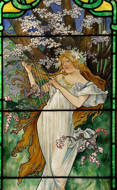 Alphonse Mucha (Czech, 1860–1939): Spring - from the Four Seasons cycle, 1908 (Stained Glass Museum, Navy Pier, Chicago)
