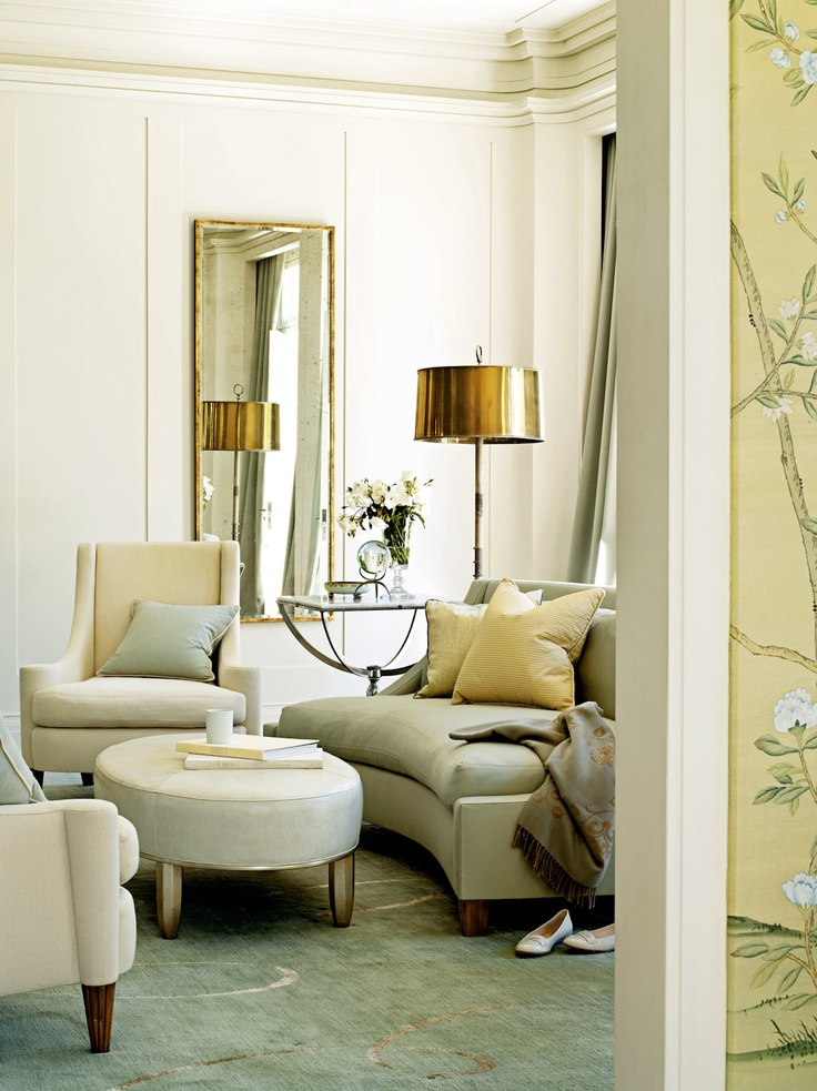 The interiors are by home furnishing & interior designer, Barbara Barry  (also author of the book ''Around Beauty').