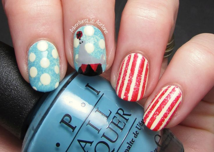 Adventures In Acetone: The Digit-al Dozen DOES Vintage, Day 1: Circus Nail Art!