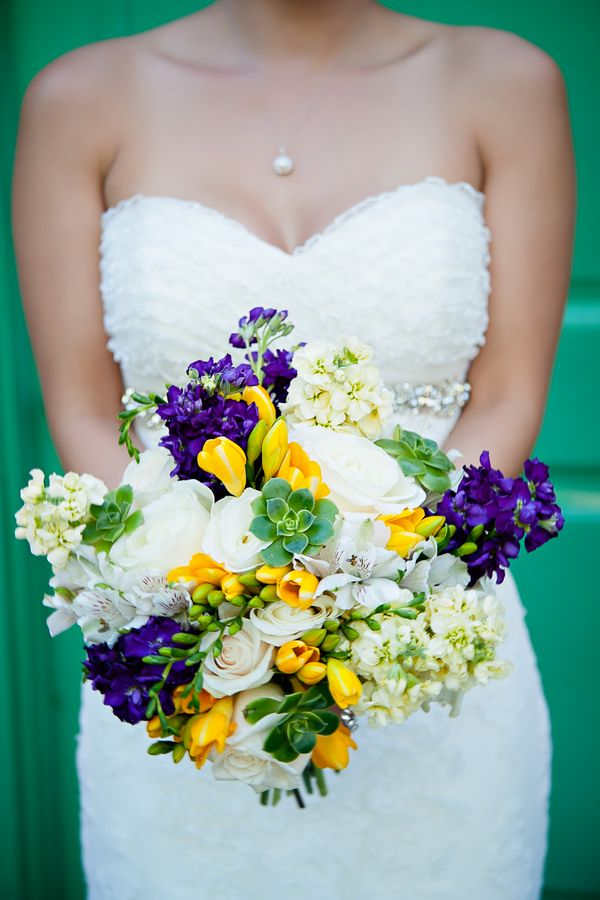 Yellow and Purple Wedding Theme in Redondo Beach California  Like the flowers, not the dress