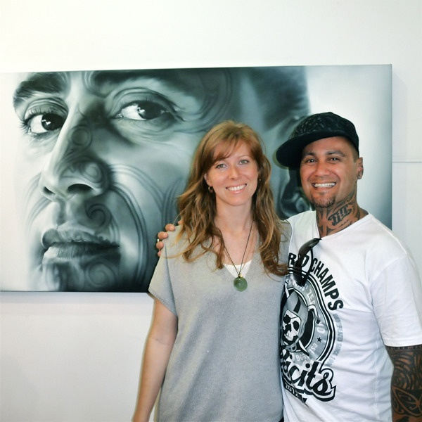 Sofia Minson paints Tiki Taane