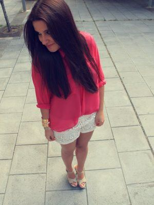 Blouse pink and groche short sweet style
