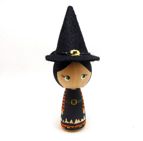 Wooden Peg Doll Kokeshi Sweet Witch
