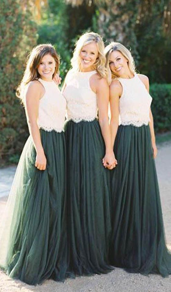2 Pieces Off White Lace Teal Green Tulle Long Wedding Bridesmaid Dresses, WG448 #bridesmaid