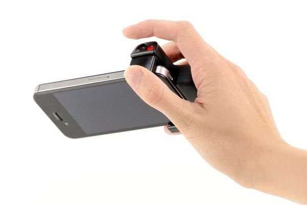 The iPhone Shutter Grip - Adds a shutter button and a friendly grip to your fancy phone! ($40.00, http://photojojo.com/store)