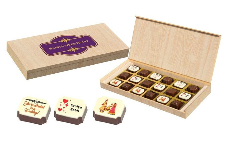 Copy of Wedding Invitation Gifts - 18 Chocolate Box -  Alternate Printed Candies (10 Boxes)