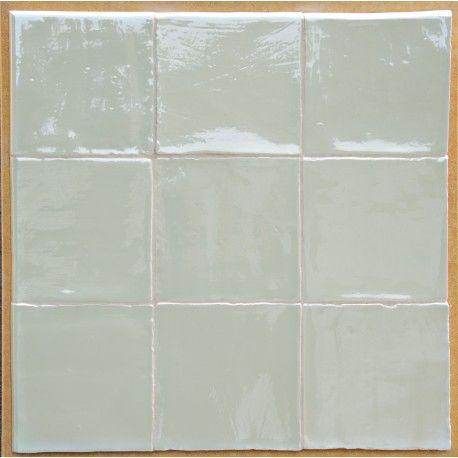 Wandtegel 13x13cm met handvorm structuur, Mint groen