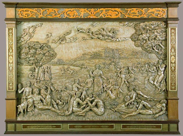 """J. M. Félix Magdalena.-""""AETAS AUREA"""" Relieve tallado en madera de arce , 151 x 112 x 9 cm."""